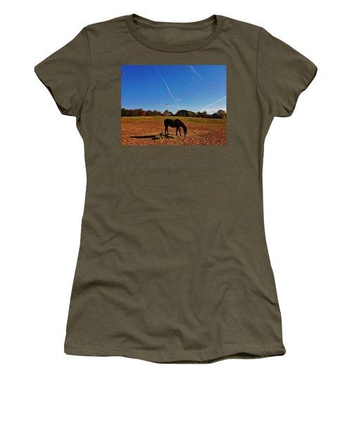 Horse Farm In The Fall Women's T-Shirt (Junior Cut) by Ed Sweeney