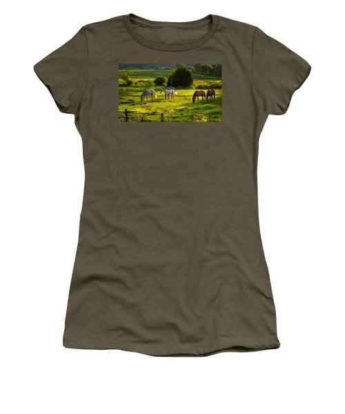 Horses Grazing In Evening Light Women's T-Shirt (Athletic Fit)