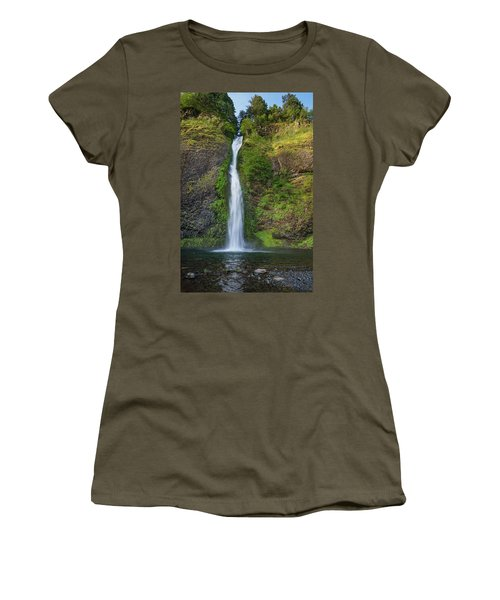 Women's T-Shirt (Junior Cut) featuring the photograph Horsetail Falls In Spring by Greg Nyquist