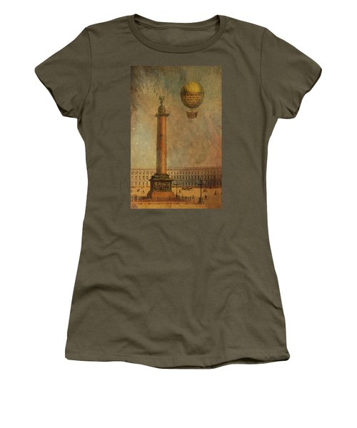 Women's T-Shirt (Junior Cut) featuring the digital art Hot Air Balloon Over St Petersburg And The Hermitage by Jeff Burgess