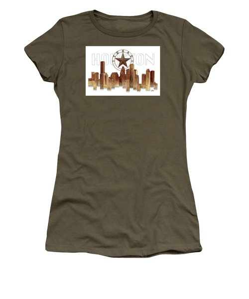 Houston Texas Skyline Women's T-Shirt (Junior Cut) by Doug Kreuger