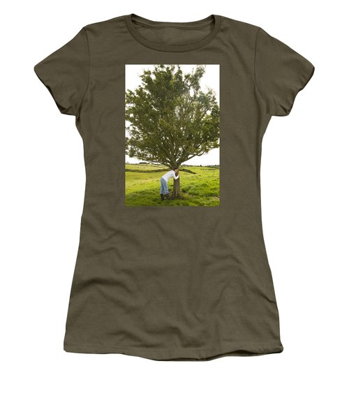 Women's T-Shirt (Junior Cut) featuring the photograph Hugging The Fairy Tree In Ireland by Ian Middleton