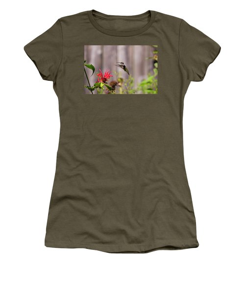 Humming Bird Hovering Women's T-Shirt (Athletic Fit)