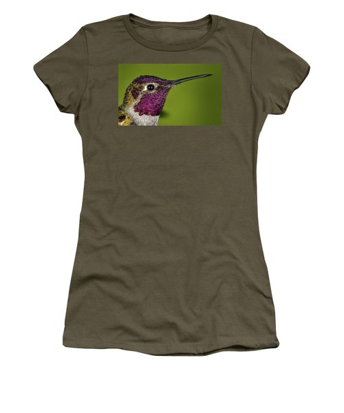 Women's T-Shirt (Junior Cut) featuring the photograph Hummingbird Head Shot With Raindrops by William Lee