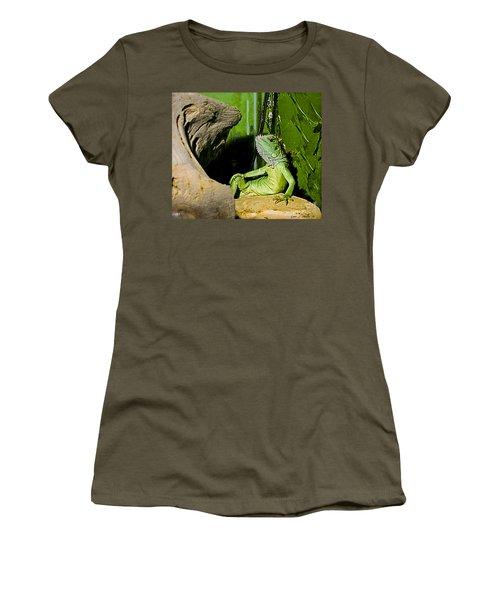 Humorous Pet Iguana Photo Women's T-Shirt (Junior Cut) by Carol F Austin