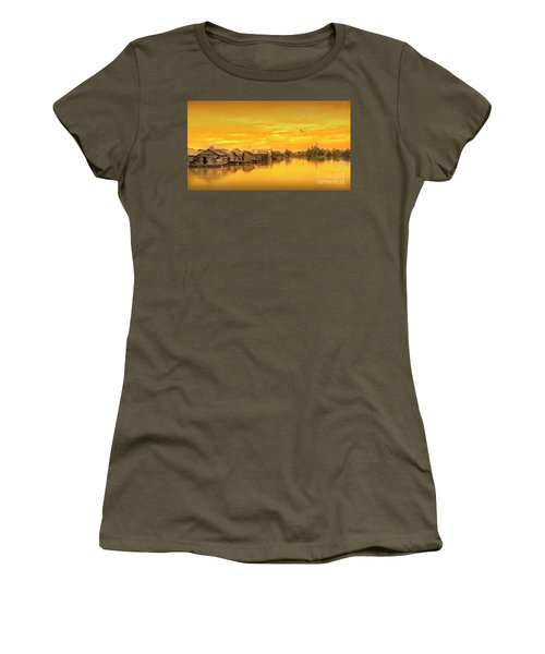 Women's T-Shirt (Junior Cut) featuring the photograph Huts Yellow by Charuhas Images
