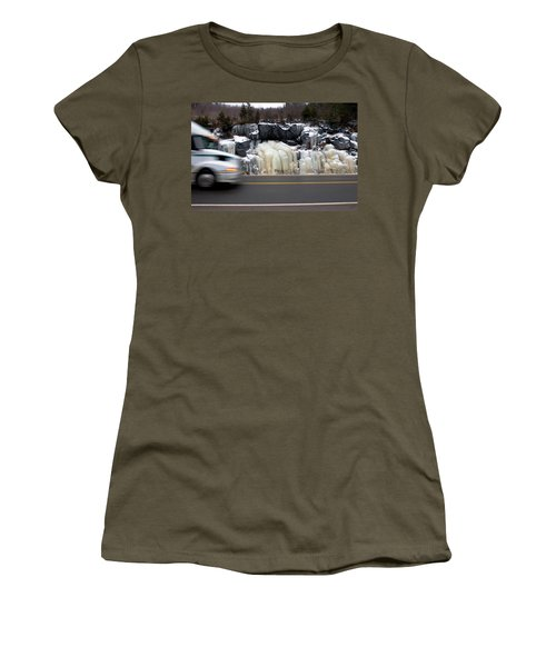 Women's T-Shirt featuring the photograph Hwy Ice   by Doug Gibbons