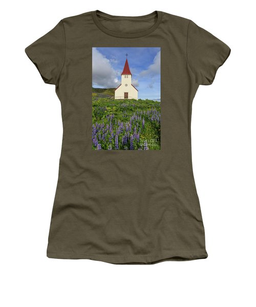 Women's T-Shirt (Athletic Fit) featuring the photograph Icelandic Church Among The Fields Of Lupine by Edward Fielding