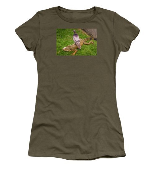 Iguana With Pigeon On Its Back Women's T-Shirt (Athletic Fit)