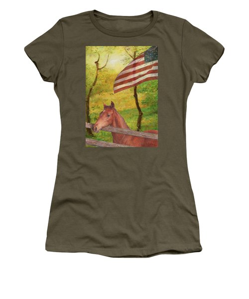 Women's T-Shirt (Athletic Fit) featuring the painting Illustrated Horse In Golden Meadow by Judith Cheng