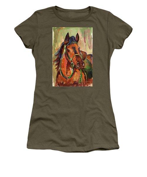 Impressionist Horse Women's T-Shirt (Junior Cut) by Janet Garcia