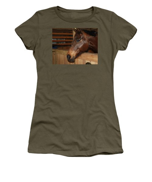 Women's T-Shirt (Junior Cut) featuring the painting In The Stall by Roena King