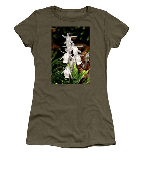 Women's T-Shirt (Junior Cut) featuring the photograph Indian Pipes On Club Moss by Meta Gatschenberger