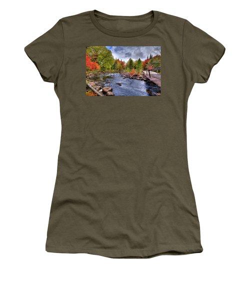 Indian Rapids Footbridge Women's T-Shirt (Junior Cut) by David Patterson