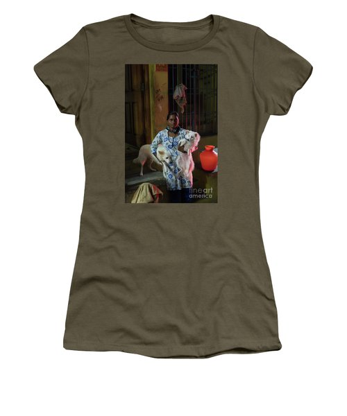 Women's T-Shirt (Junior Cut) featuring the photograph Indian Woman And Her Dogs by Mike Reid
