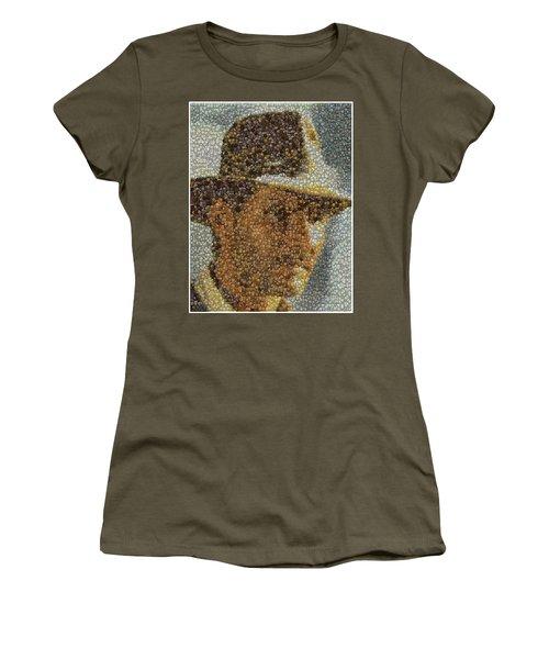 Women's T-Shirt (Junior Cut) featuring the mixed media Indiana Jones Treasure Coins Mosaic by Paul Van Scott