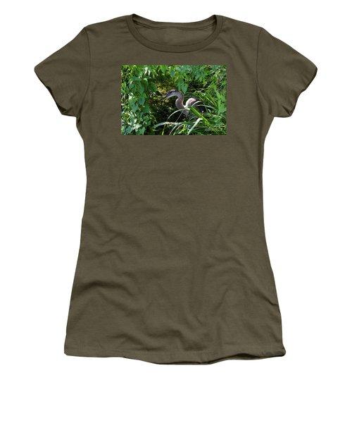Injure Blue Heron Women's T-Shirt (Junior Cut) by Donna Brown