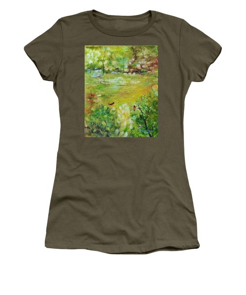 Women's T-Shirt (Athletic Fit) featuring the painting Invincible Spring by Judith Rhue