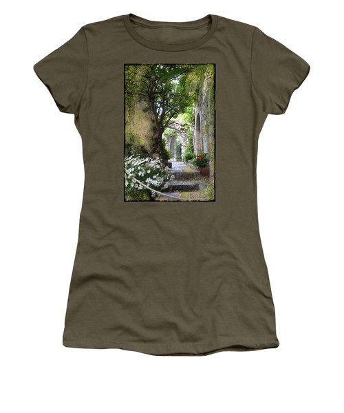 Inviting Courtyard Women's T-Shirt (Junior Cut) by Carla Parris