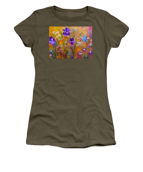 Iris Wildflowers And Butterfly Women's T-Shirt