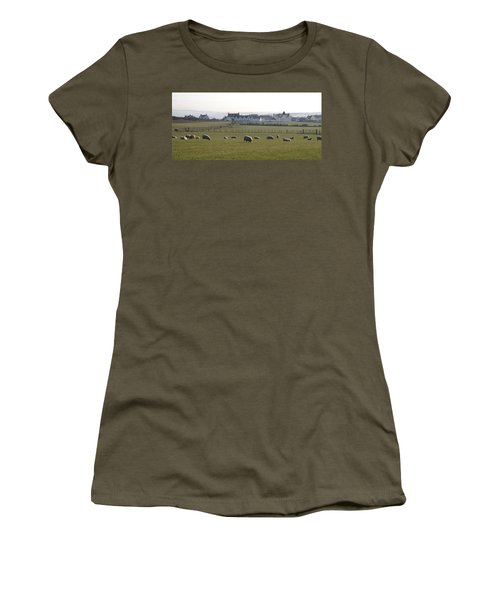 Irish Sheep Farm Women's T-Shirt (Junior Cut) by Henri Irizarri