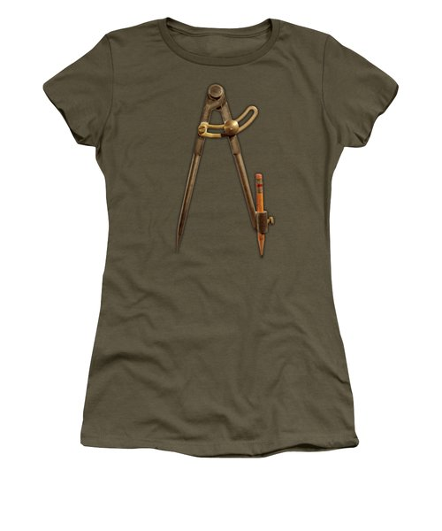 Iron Compass On Black Paper Women's T-Shirt