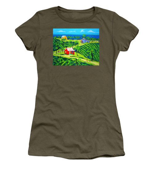 Island Time - Colorful Houses Caribbean Cottages Women's T-Shirt (Junior Cut) by Rebecca Korpita