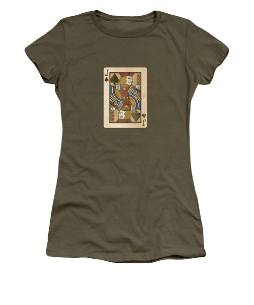 Jack Of Spades In Wood Women's T-Shirt (Athletic Fit)