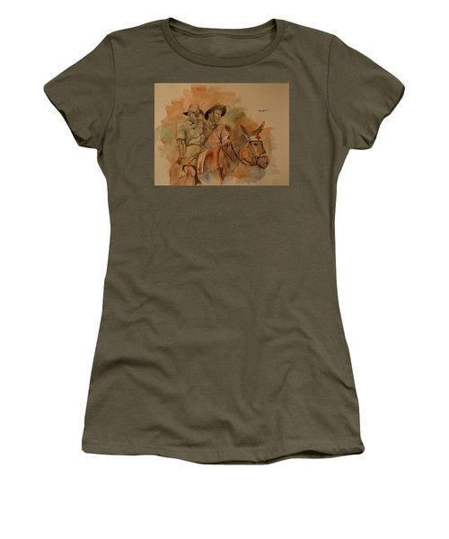 Women's T-Shirt (Junior Cut) featuring the painting Jack Simpson And Duffy by Ray Agius