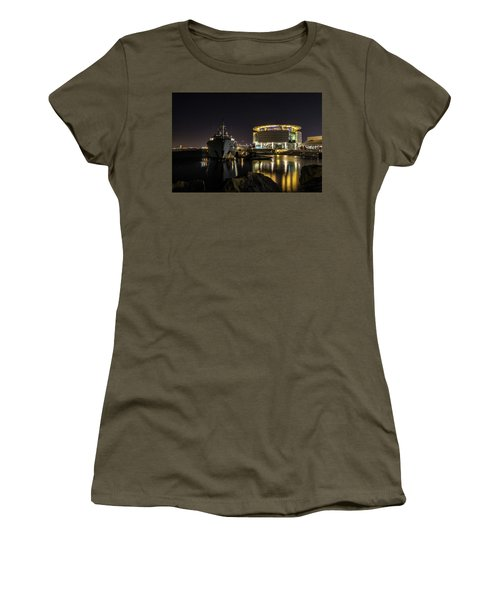 Women's T-Shirt (Athletic Fit) featuring the photograph Jamaica Bay At Discovery World by Randy Scherkenbach