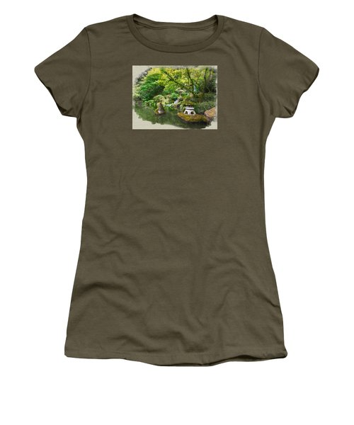 Japanese Garden Waterfall Women's T-Shirt (Athletic Fit)