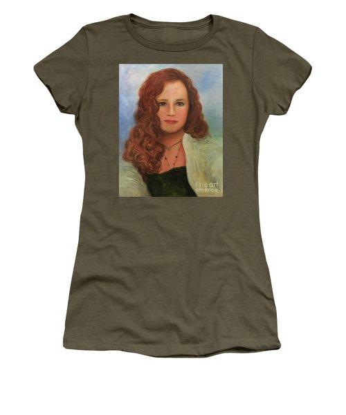 Women's T-Shirt (Junior Cut) featuring the painting Jennifer by Randol Burns