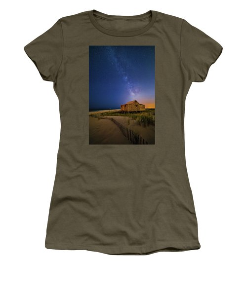 Women's T-Shirt (Athletic Fit) featuring the photograph Jersey Shore Setting Moon  And Milky Way by Susan Candelario