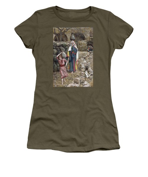 Jesus And His Mother At The Fountain Women's T-Shirt