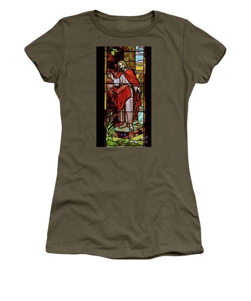 Women's T-Shirt (Junior Cut) featuring the photograph Jesus Knocking by Debby Pueschel