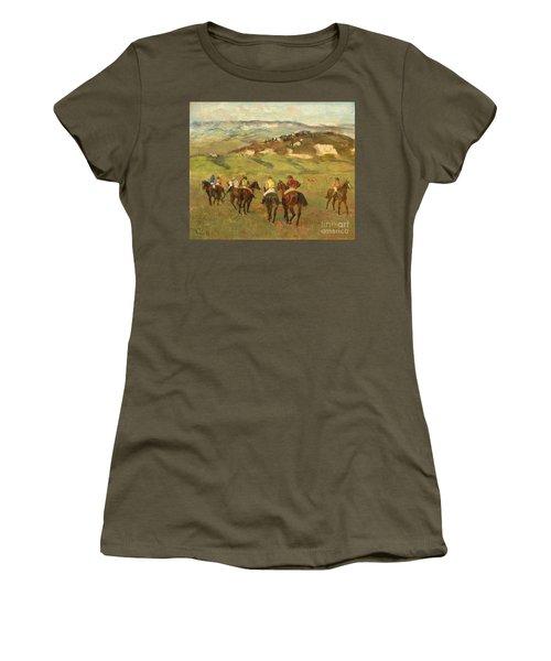 Jockeys On Horseback Before Distant Hills Women's T-Shirt