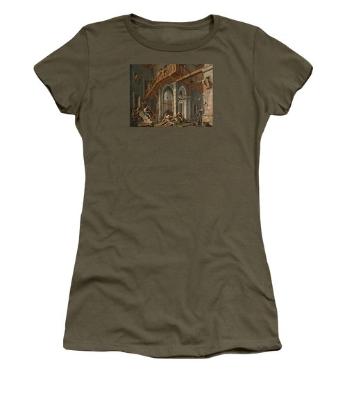 Women's T-Shirt (Junior Cut) featuring the painting Joseph Interprets The Dreams Of The Pharaoh's Servants Whilts In Jail by Alessandro Magnasco