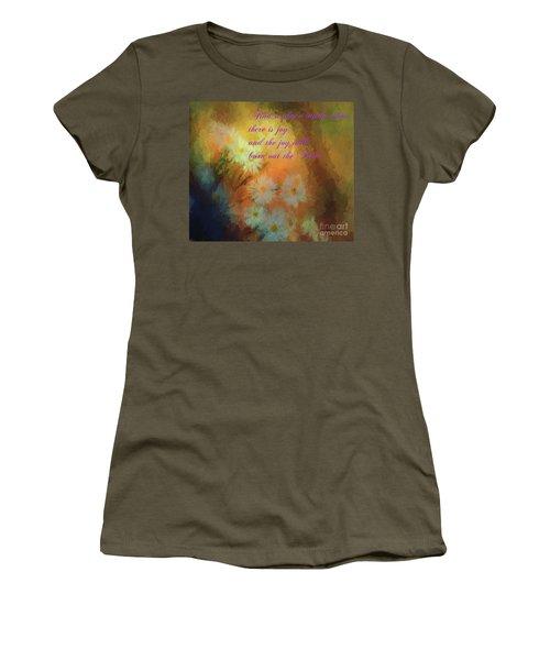Women's T-Shirt (Junior Cut) featuring the mixed media Joy by Jim  Hatch