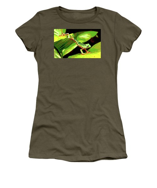 Jumping Frog Women's T-Shirt (Junior Cut) by Charles Shoup