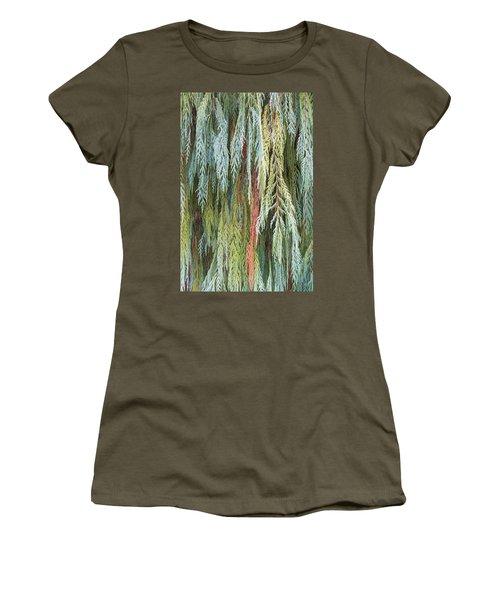 Women's T-Shirt (Junior Cut) featuring the photograph Juniper Leaves - Shades Of Green by Ben and Raisa Gertsberg