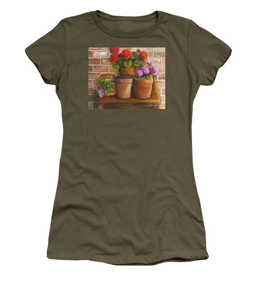 Just Geraniums Women's T-Shirt (Junior Cut) by Marlene Book