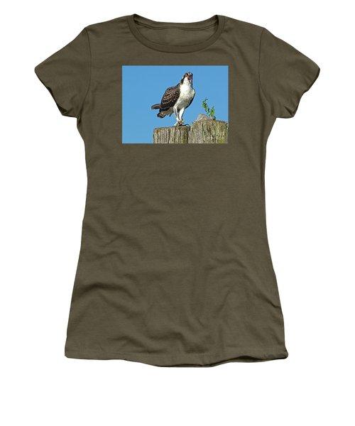 Juvenile Osprey#1 Women's T-Shirt (Junior Cut) by Geraldine DeBoer