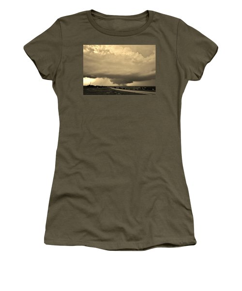 Women's T-Shirt (Athletic Fit) featuring the photograph Kansas Twister - Sepia by Ed Sweeney