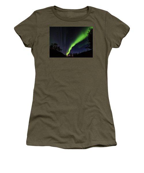 Kantishna Northern Lights In Denali National Park Women's T-Shirt (Junior Cut) by Brenda Jacobs