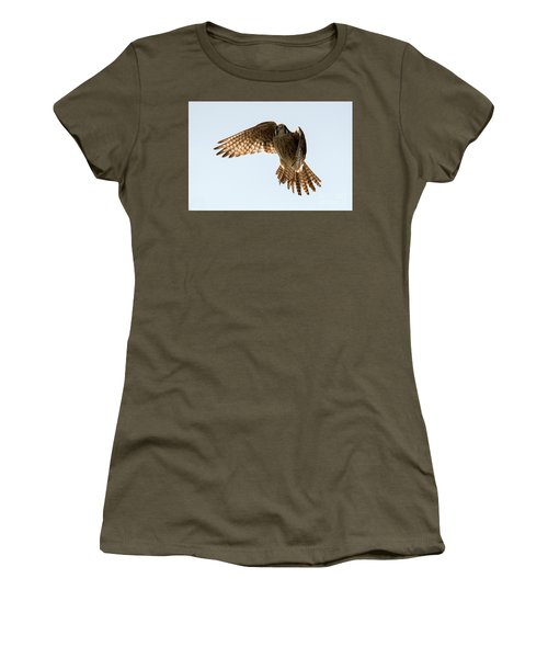 Women's T-Shirt (Junior Cut) featuring the photograph Kestrel Hover by Mike Dawson