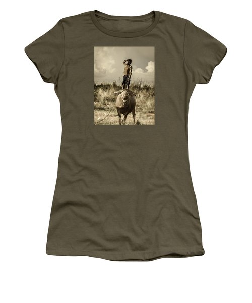 Women's T-Shirt (Junior Cut) featuring the photograph Kid And Cow by Arik S Mintorogo