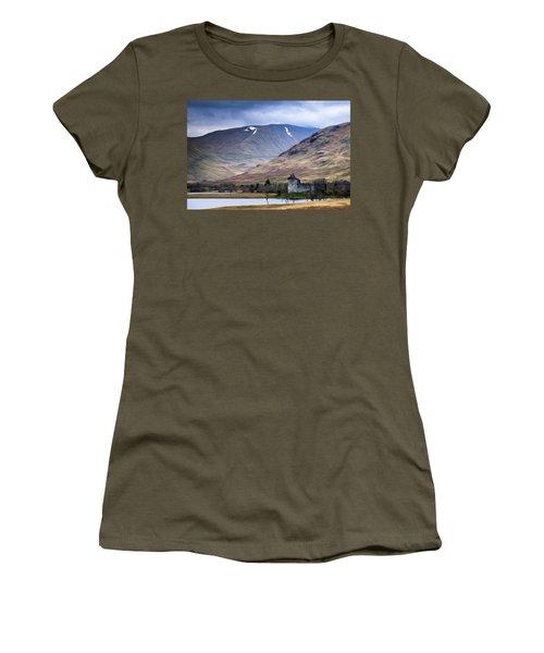 Kilchurn Castle On Loch Awe In Scotland Women's T-Shirt