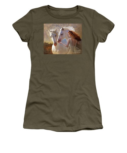 Women's T-Shirt (Athletic Fit) featuring the digital art Kindred Spirits by Melinda Hughes-Berland