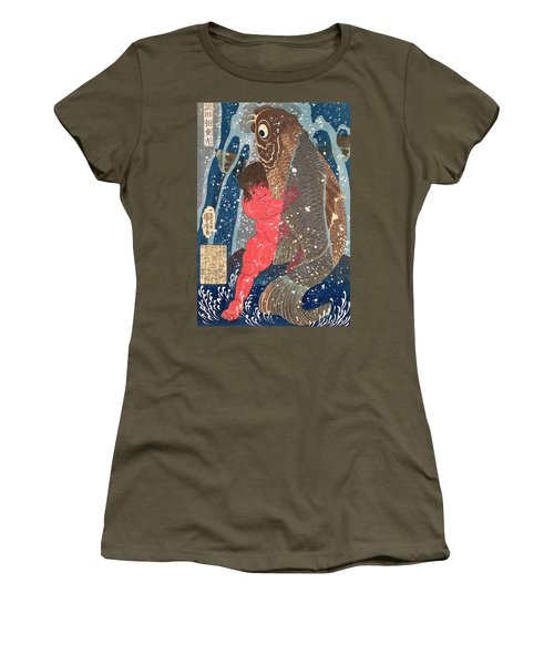 Kintoki Swims Up The Waterfall Women's T-Shirt