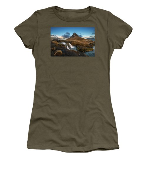 Kirkjufellsfoss Waterfall And Kirkjufell Mountain, Iceland Women's T-Shirt